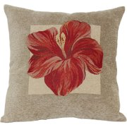 Red Hibiscus Decorative Pillow