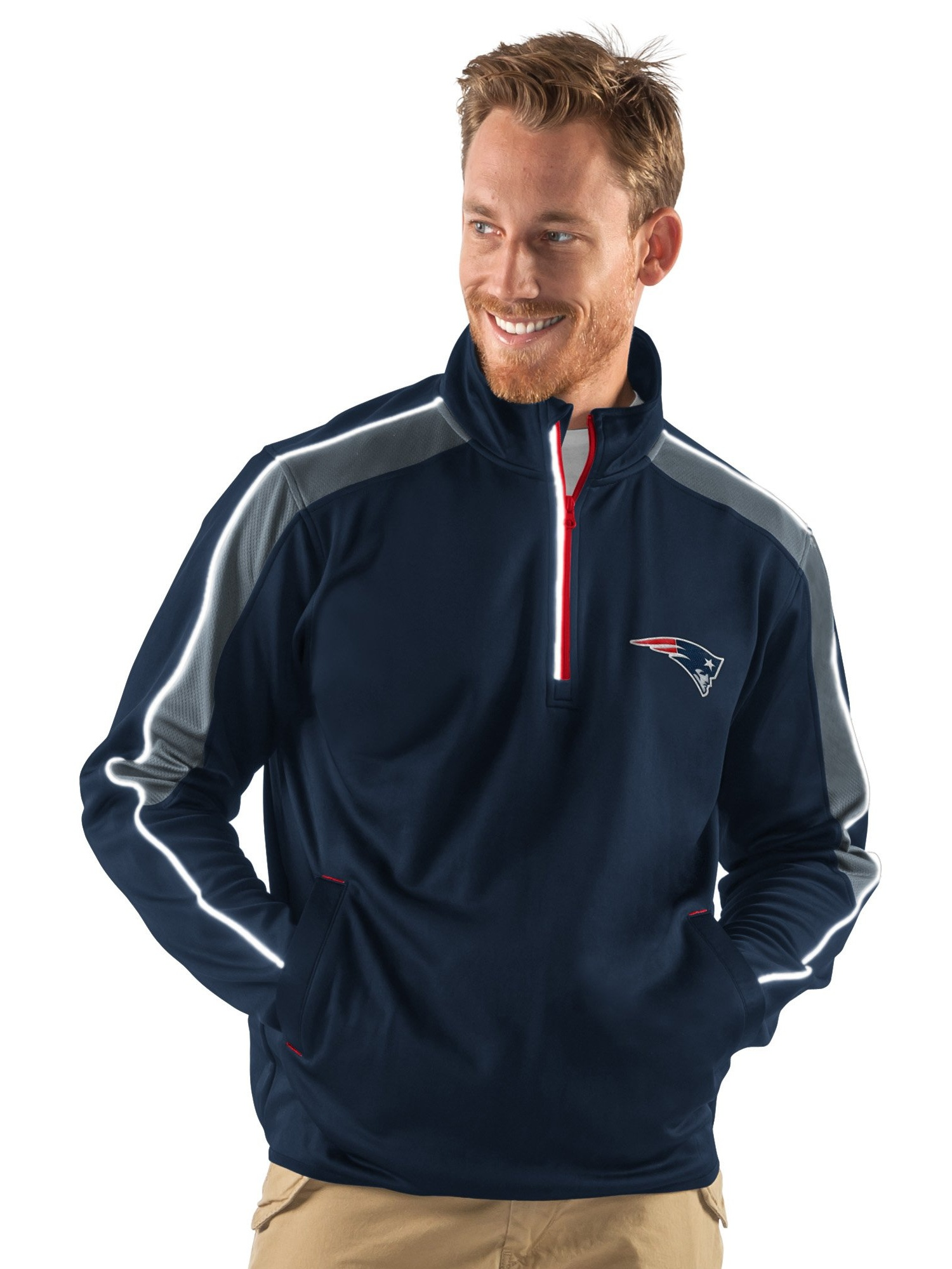 New England Patriots Navy Discover Half Zip Pullover Jacket by G-III Sports
