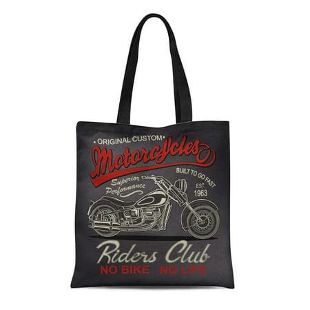 KDAGR Canvas Tote Bag Classic Vintage Motorcycle Antique Biker Black Car Club Custom Reusable Shoulder Grocery Shopping Bags Handbag](Custom Reusable Grocery Bags)