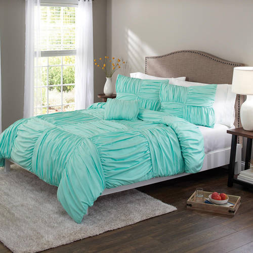 Better Homes & Gardens Full Basketweave Ruched Comforter Set, 4 Piece