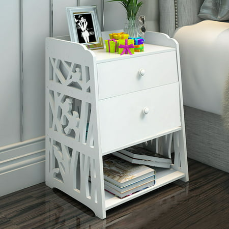Modern White Carved Hollow Design Bedside Table Shelf Locker Bookcase Cosmetic Water-proof Storage W /drawer for Bedroom Bathroom Office (16''x12''x20'')