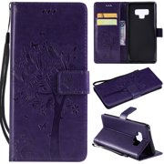 Galaxy Note 9 Case, Allytech Vintage Wallet Folding Flip Case with Kickstand and Multiple Card Slots Magnetic Closure Protective Cover for Samsung Galaxy Note 9 (2018) 6.4 inch, Purple