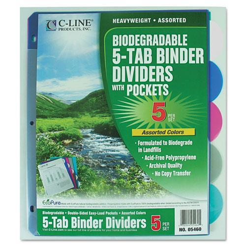 C-line Biodegradable Poly Index Dividers with Pockets CLI05460