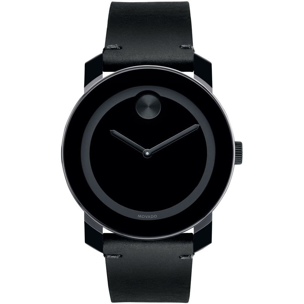 Movado 3600352 Bold Analog Display Quartz Watch, Black Leather Band with Painted Yellow Edge, Round 42mm Case