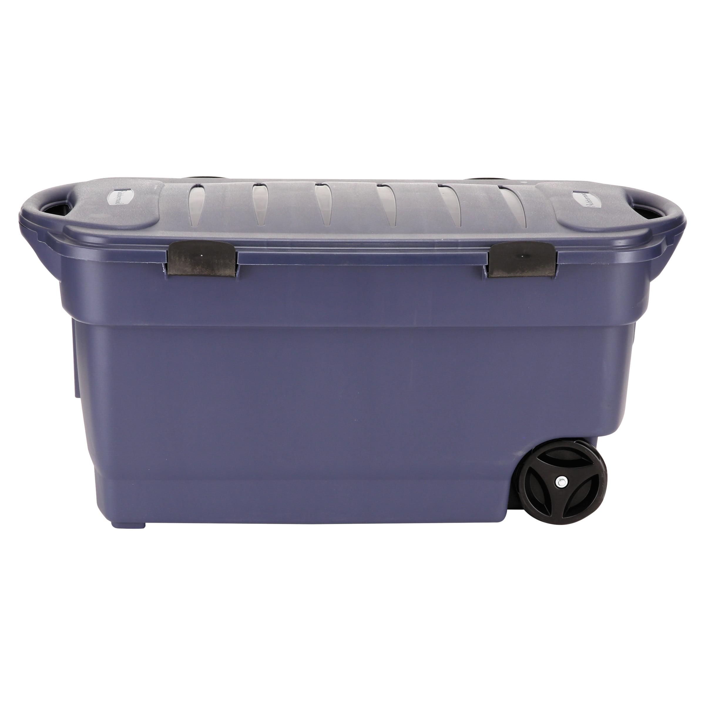 Rubbermaid Roughneck Wheeled Storage Box, 45gal, Dark Indigo Metallic by Rubbermaid