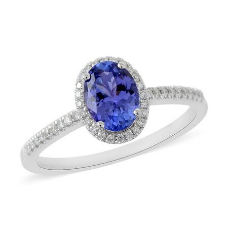 ILIANA 18K White Gold AAA Premium Blue Tanzanite Diamond Bridal Anniversary Halo Ring Jewelry for Women Ct 1.1 G-H Color SI1