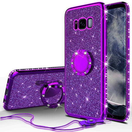hot sale online c7d21 f3938 Glitter Cute Ring Stand Phone Case for Samsung Galaxy S8 Plus Case, Bling  Rhinestone Bumper Kickstand Sparkly Luxury Clear Thin Soft Protective for  ...