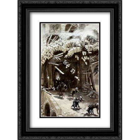 Tower of Siloam 2x Matted 18x24 Black Ornate Framed Art Print by Tissot, James