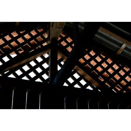 Wood Roof Trusses (Canvas Print Wood Truss Wood Wood Lattice Holzgibel Roof Truss Stretched Canvas 10 x)