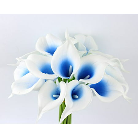 10pc set Real Touch calla lily-keepsake artificial flower perfect for cut to make boutonniere corsage bouquets (Picasso Royal blue)