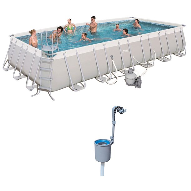 Bestway 24ft X 12ft X 52in Rectangular Above Ground Pool Set W
