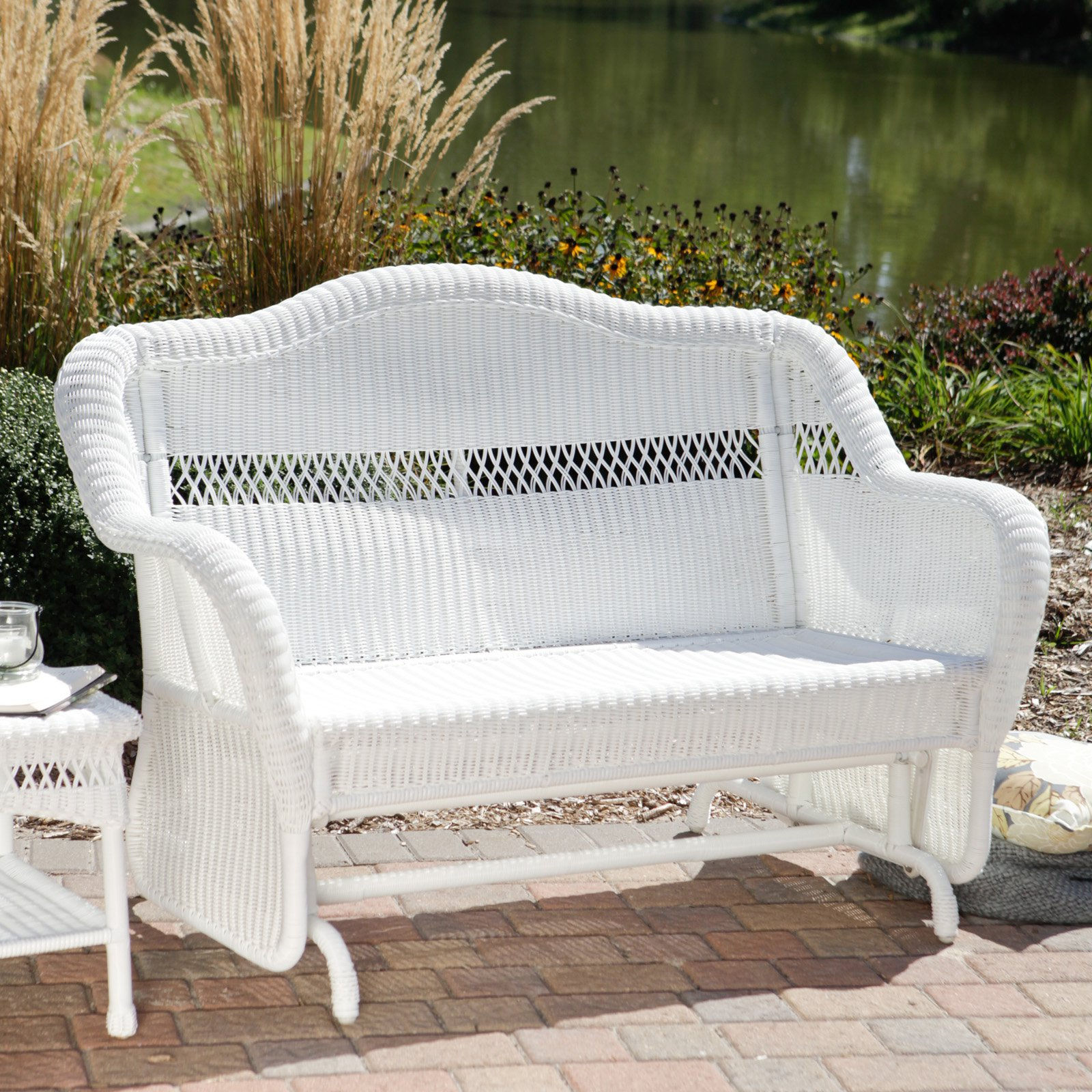 Coral Coast Casco Bay Resin Wicker Outdoor Glider Loveseat by Chi Wing Rattan Factory