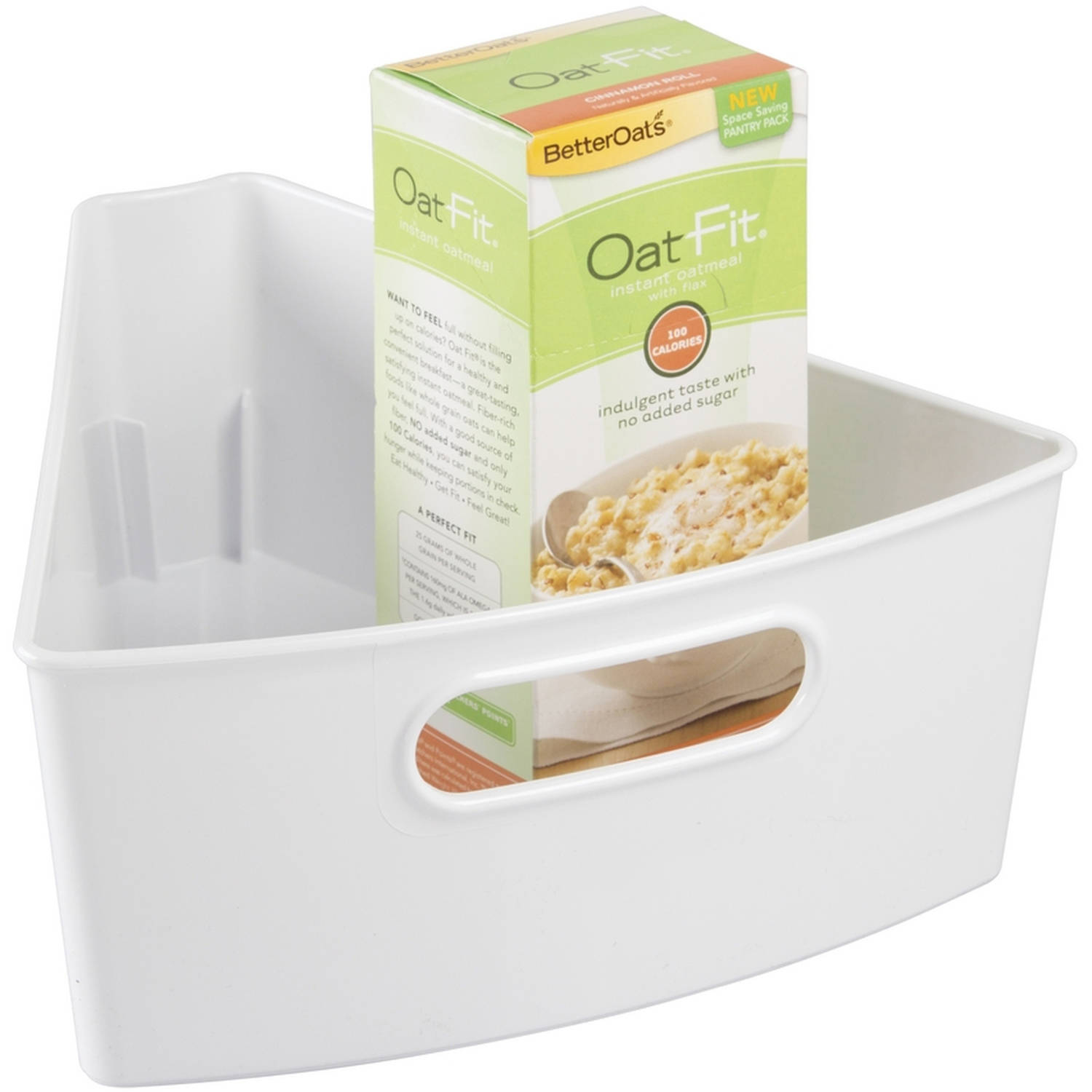 InterDesign Kitchen Lazy Susan Pantry Cabinet Binz, 1/8, White