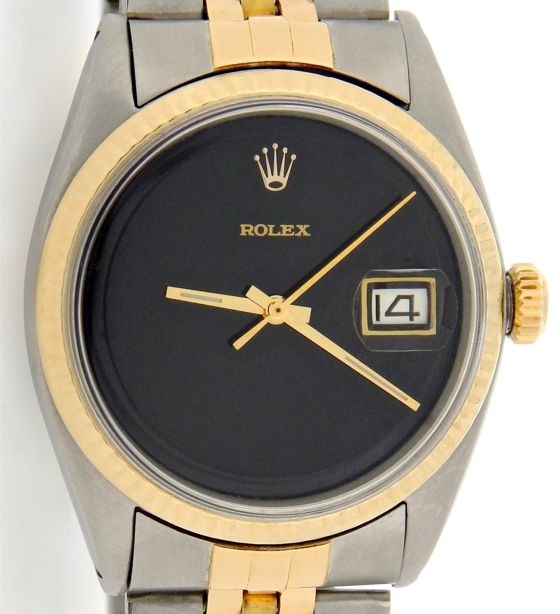 Pre-Owned Mens Rolex Two-Tone 14K/SS Datejust Black 1601 (SKU 7050105MT)