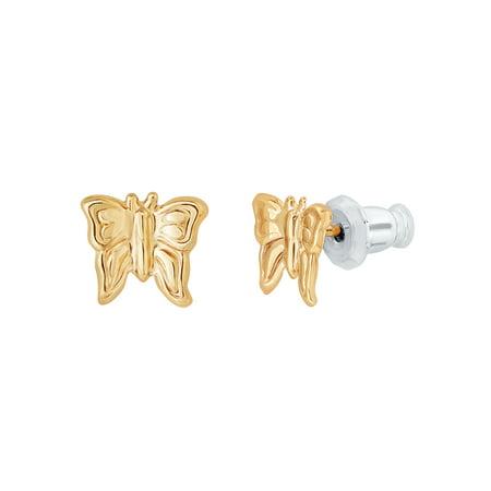 Small Butterfly Earrings - 14kt Yellow Gold Butterfly Stud Earrings
