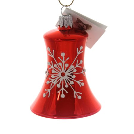 Golden Bell Collection RED BELL w/WHITE SNOWFLAKE Ornament Czech Christmas Bea43 ()