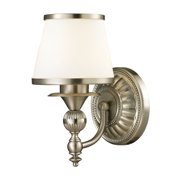 Smithfield 1-Light Vanity Lamp in Brushed Nickel with Opal White Blown Glass