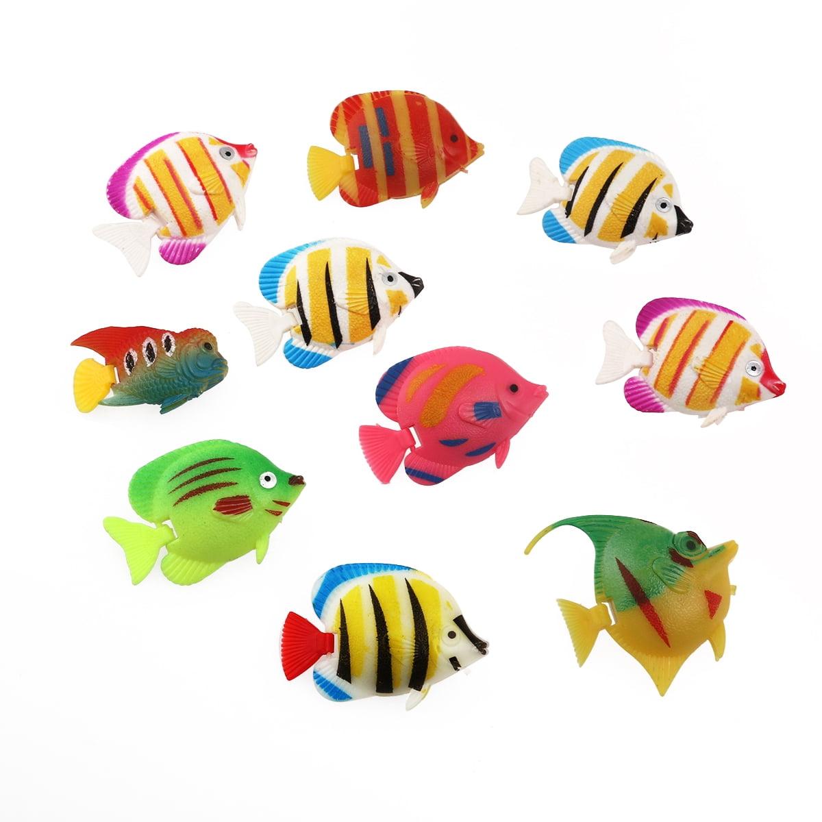 10pcs Lifelike Plastic Artificial Moving Floating Fishes Ornament Decorations for Aquarium Fish Tank (Random Color & Pattern)