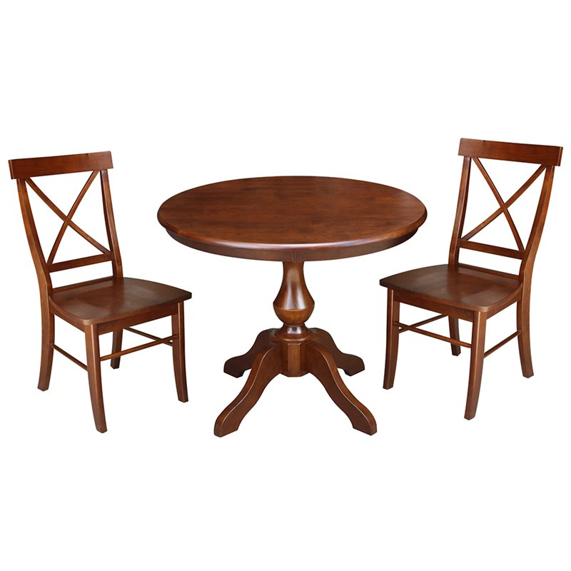 "36"" 3pc Round Top Pedestal Table with 2 Chairs Set Espresso - International Concepts"