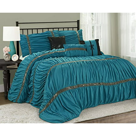 Unique Home 7 Piece Claraita Chic Ruched Pleated Bed In A