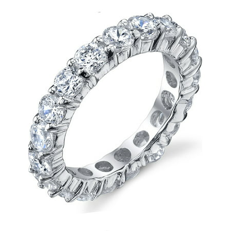 Eternity Wedding Ring - 3.50MM Sterling Silver 925 Eternity Ring Engagement Wedding Band Ring with Cubic Zirconia CZ