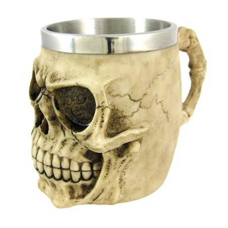 Creepy Human Skull Tankard Stein Drinking Vessel - Halloween Skull Cups