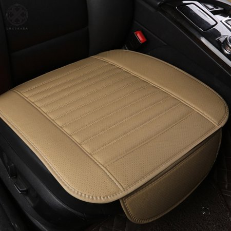 Luxtrada Car Seat Cushion 1PC Breathable Car Interior Seat Cover Cushion Pad Mat for Auto Supplies Office Chair with PU Leather (Beige)