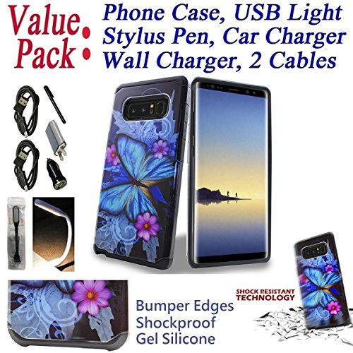 "Value Pack Cables + for 6.3"" Samsung Galaxy Note 8 note8 Case Phone Case Shock Proof Edges Hybrid Hard Back Bumper Slim Cover Butterfly"