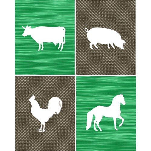 Rocket Bug 4 Piece Farm Animals Paper Print Set