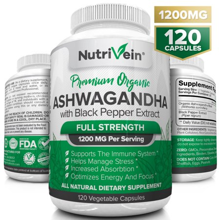 Nutrivein Organic Ashwagandha Capsules 1200mg - 120 Vegan Pills - Black Pepper Extract - 100% Pure Root Powder Supplement - Stress Relief, Anxiety, Immune, Thyroid & Adrenal Support - Mood