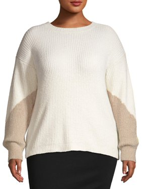 Heart & Crush Women's Plus Size Chenille Color Block Pullover