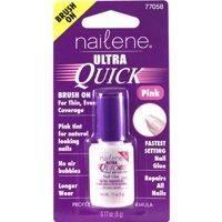 Nailene Ultra Quick Brush On Nail Glue, Pink, 0.17 Fl Oz