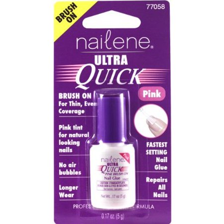 Nailene Ultra Quick Pink Brush On Nail Glue, 0.17 fl oz