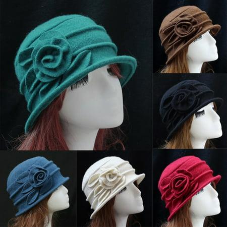 Girl12Queen Vintage Women Wool Church Cloche Flapper Hat Lady Bucket Winter Flower Cap (Flappers Hats)