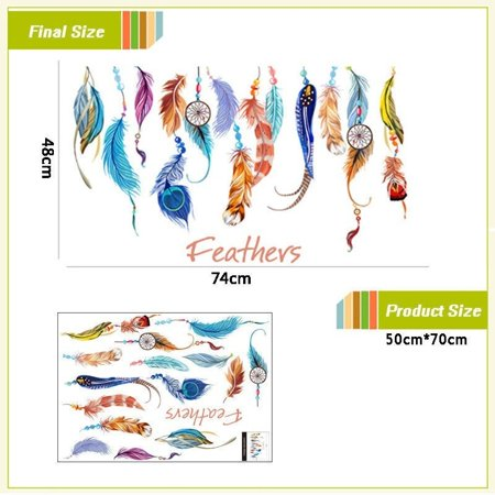 NEW Colorful Dream Catcher Lucky Feathers Wall Sticker Mural Vinyl Decal Home Decor - image 2 of 5