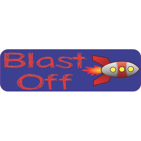 10in x 3in Blast Off Rocket Bumper Sticker Decal Vinyl Car Window Stickers Decals