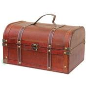 Decorative Wood Treasure Box - Wooden Trunk Chest