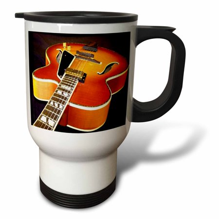 3dRose Jazz Guitar, Travel Mug, 14oz, Stainless Steel