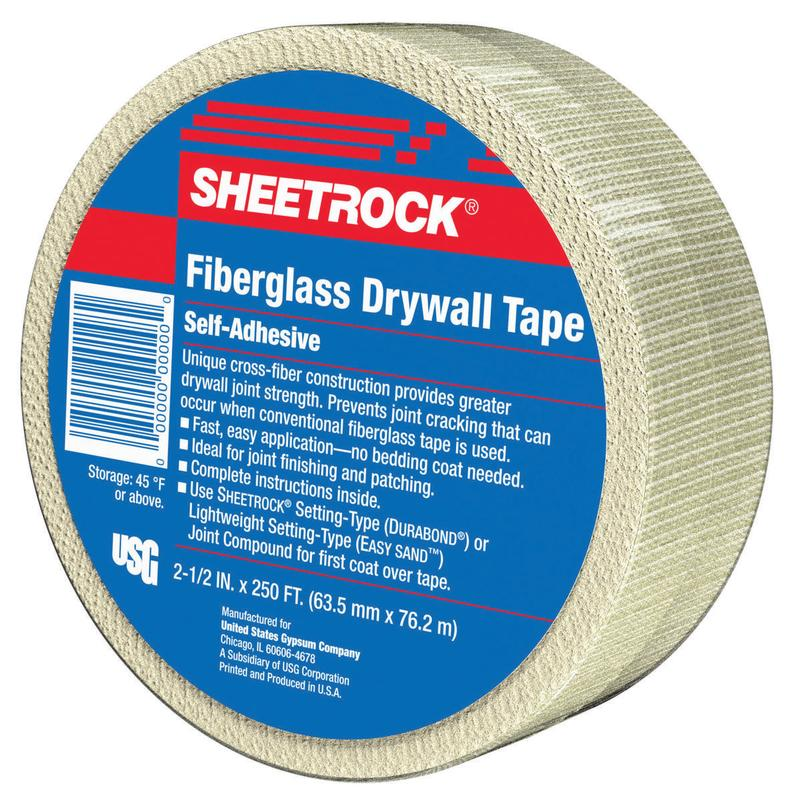 US Gypsum 385201020 Drywall Joint Tape, 2-1/2 in W x 250 ft L, Fiberglass