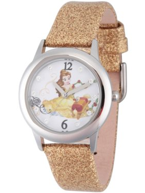 Beauty and Beast Belle Girls' Stainless Steel Glitz Watch, Gold Glitter Strap