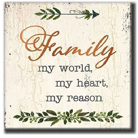 My Word! Family, My World My Heart-7.25x7.25 Rustic Wooden Block Sign, 7.25 x 7.25, Multicolor