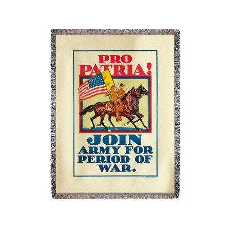 Pro Patria! Vintage Poster (artist: Horace Devitt Welsh) USA c. 1917 (60x80 Woven Chenille Yarn Blanket)