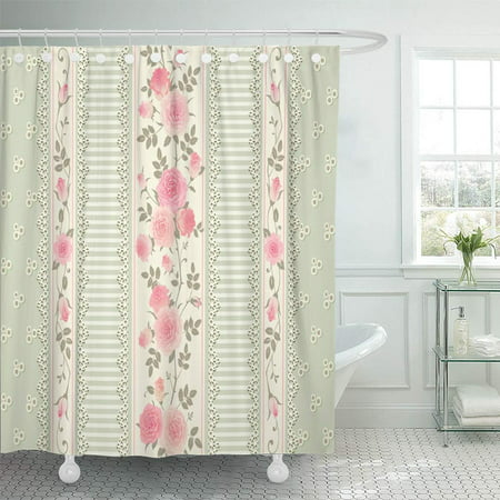 PKNMT Green Delicate Floral Pattern Laces Stripes Pink Roses Shabby Chic Style Bathroom Shower Curtain 66x72 (Shabby Chic Cabana Stripe)