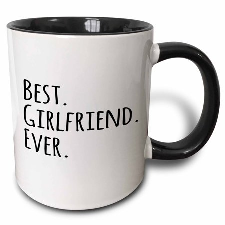 3dRose Best Girlfriend Ever - fun romantic love and dating gifts for her for anniversary or Valentines day - Two Tone Black Mug,