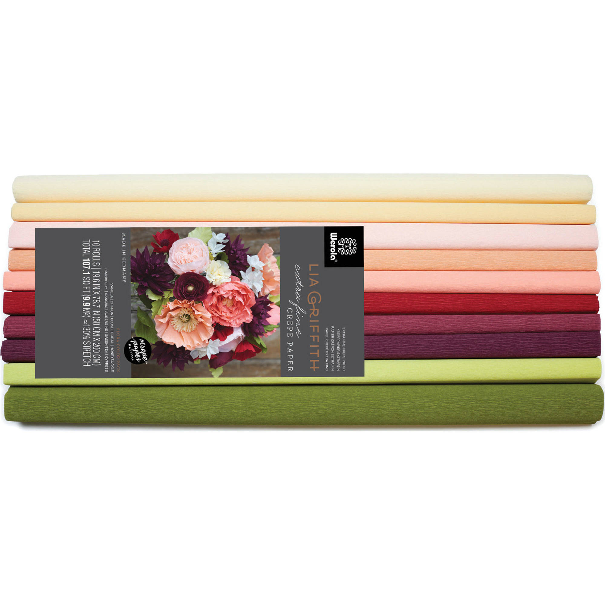 Lia Griffith Extra Fine Crepe Paper, Assorted Flora Craft Paper, 10 pk