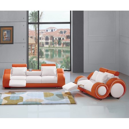 Living Room Furniture Modern Contemporary Beautiful White / Orange 2pc Sofa Set Sofa w Console And Loveseat Recliner Comfort Couch