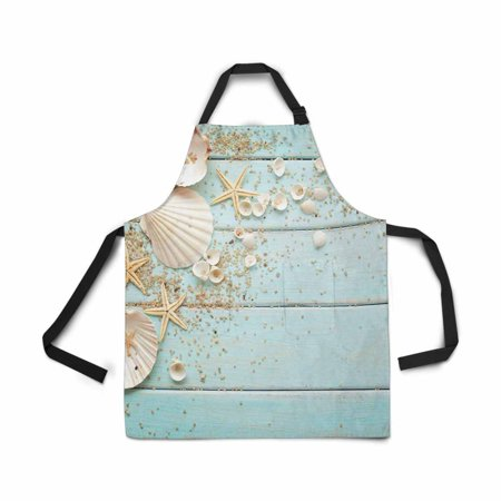 HATIART Adjustable Bib Apron for Women Men Girls Chef with Pockets Seashells Frame Wooden Sea Nautical Border Novelty Kitchen Apron for Cooking Baking Gardening Pet Grooming Cleaning - image 1 of 1