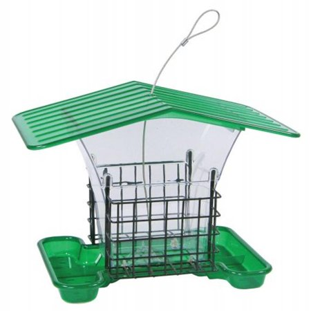 Bird Holder - Belle Fleur Hopper Bird Feeder with Suet Holders with Roof, Green, 4 lb Seed Capacity and 2 Suet Capacity