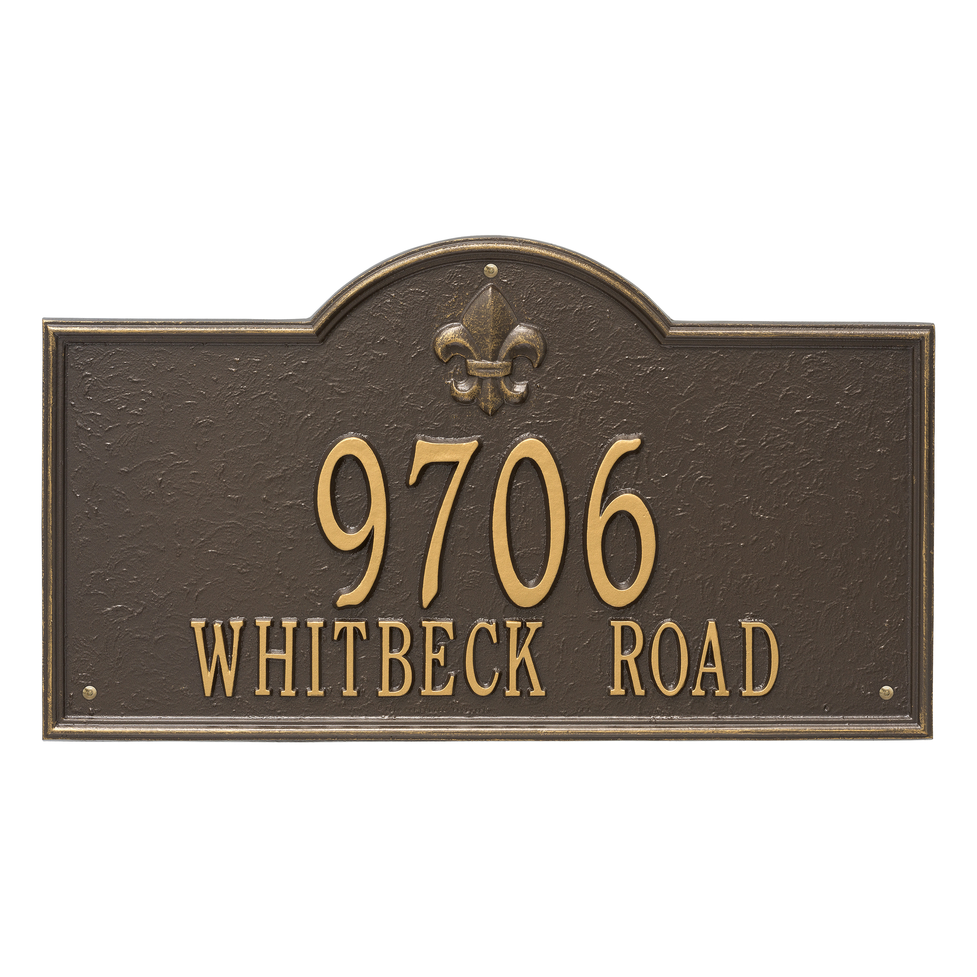 Personalized Whitehall Products Bayou Vista Estate 2-line Address Plaque in Bronze Gold by Whitehall