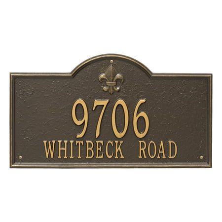 Personalized Whitehall Products Bayou Vista Estate 2 Line Address Plaque In Bronze Gold